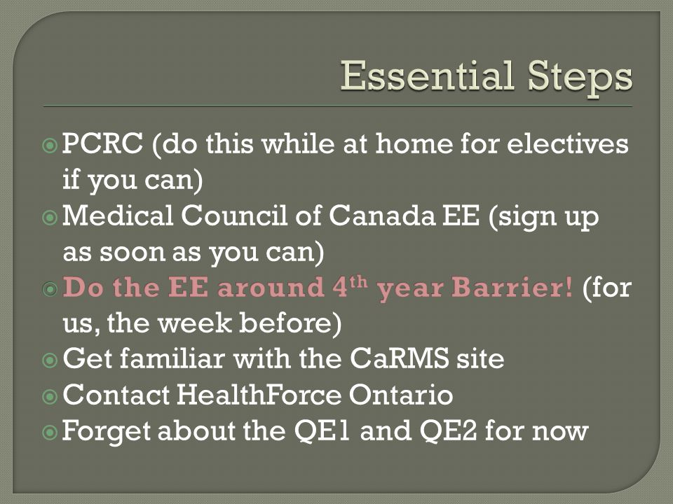Essential Steps PCRC (do this while at home for electives if you can)