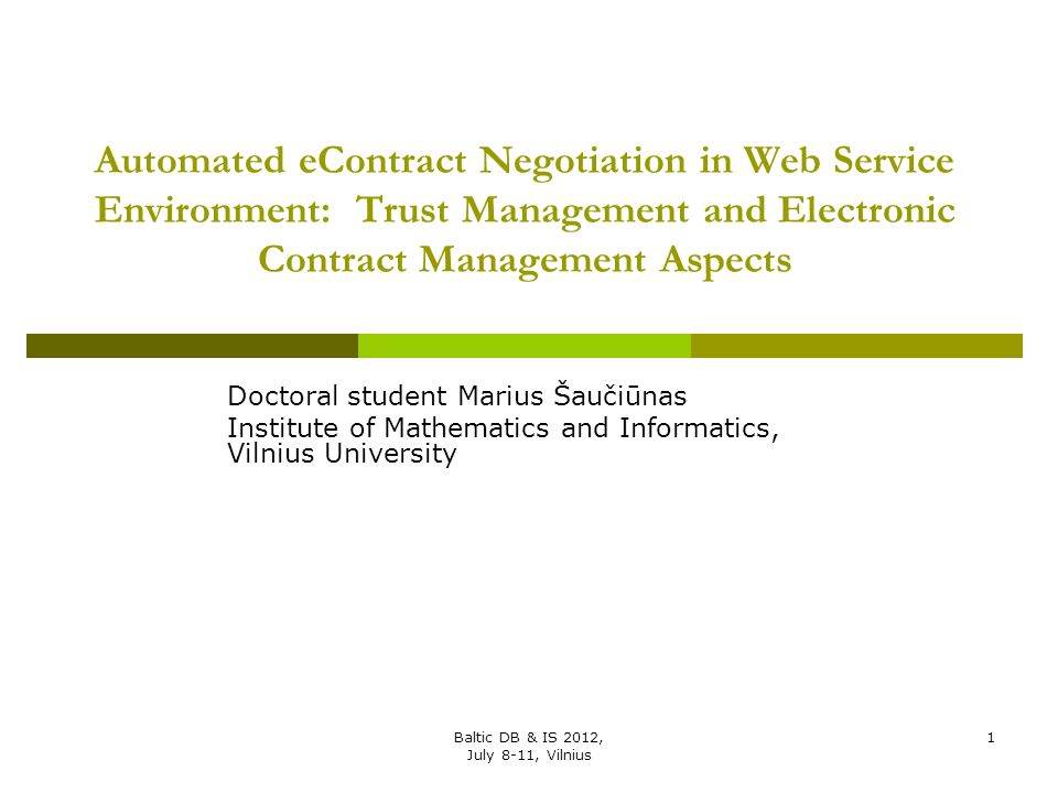 Automated eContract Negotiation in Web Service Environment: Trust Management and Electronic Contract Management Aspects