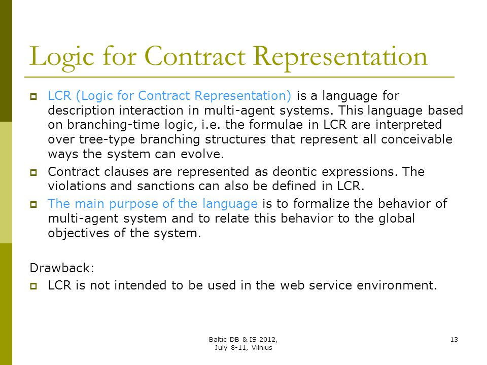 Logic for Contract Representation
