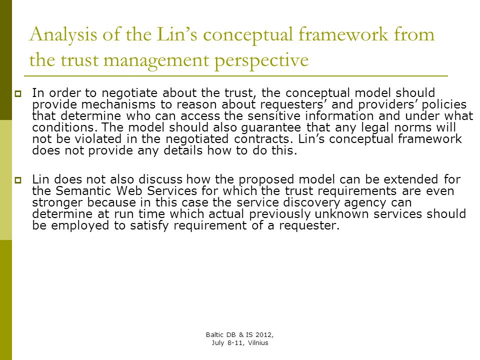 Analysis of the Lin's conceptual framework from the trust management perspective