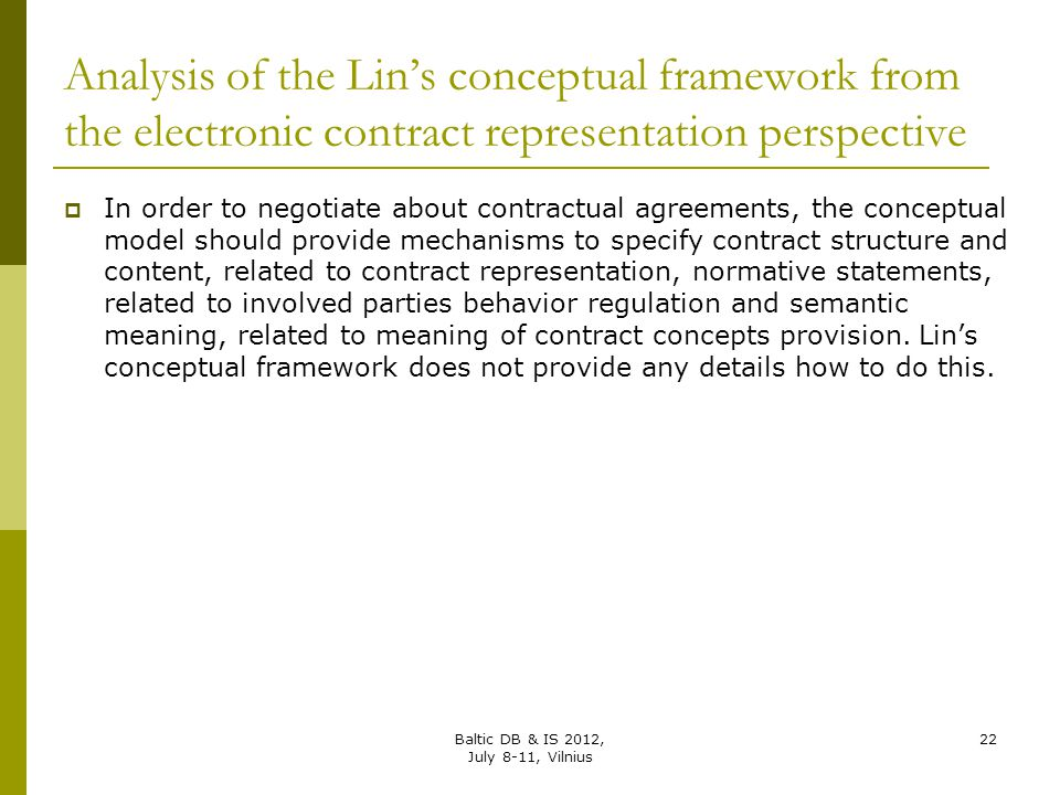 Analysis of the Lin's conceptual framework from the electronic contract representation perspective