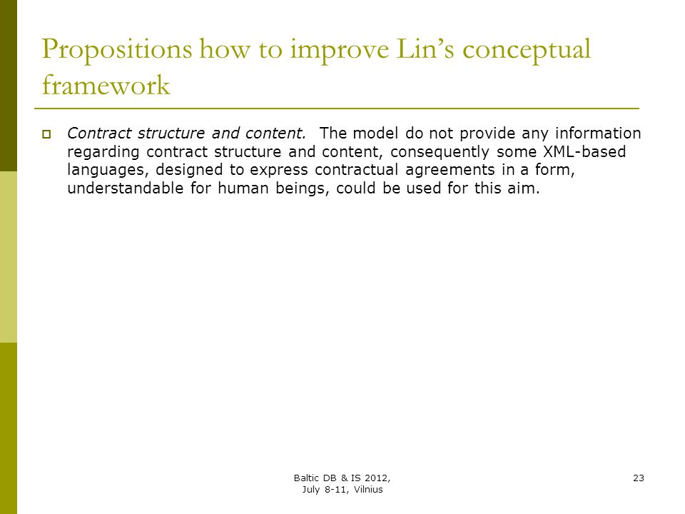 Propositions how to improve Lin's conceptual framework