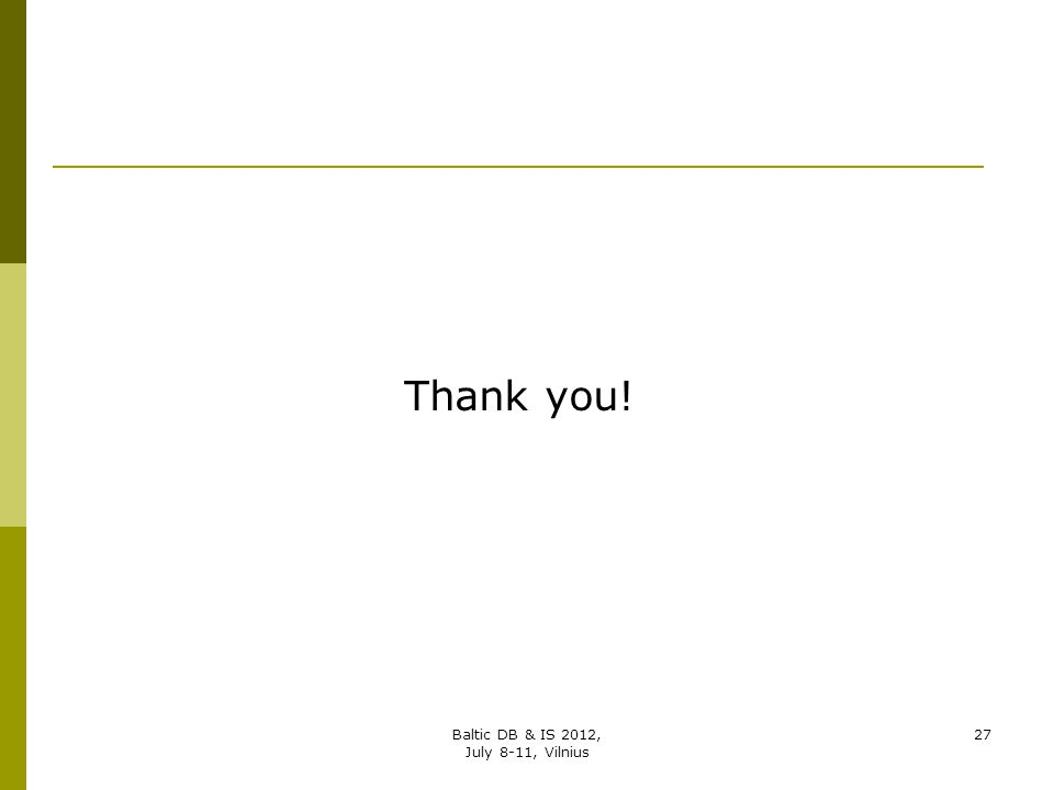 Thank you! Baltic DB & IS 2012, July 8-11, Vilnius