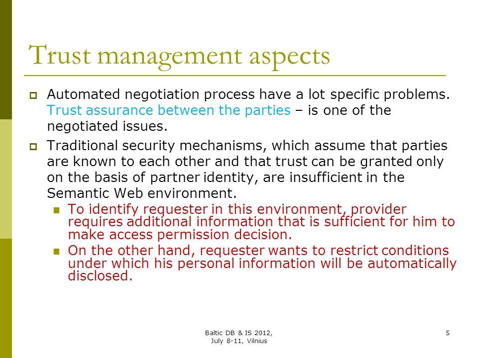 Trust management aspects