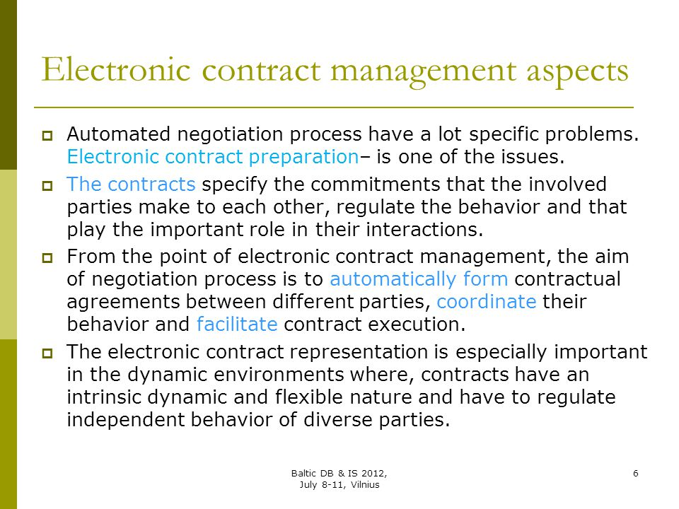 Electronic contract management aspects