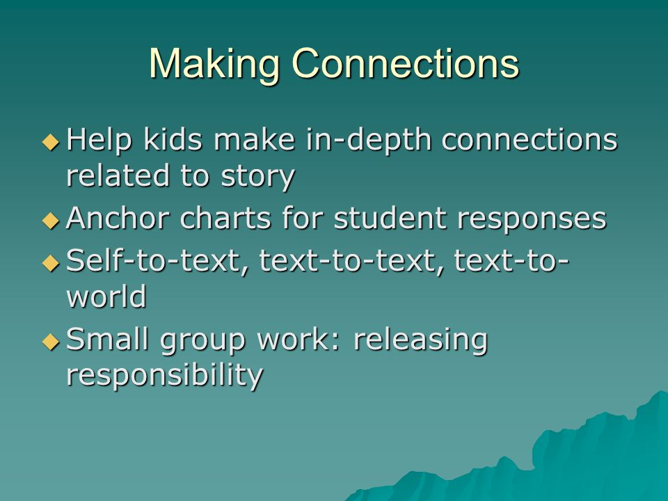 Making Connections Help kids make in-depth connections related to story. Anchor charts for student responses.
