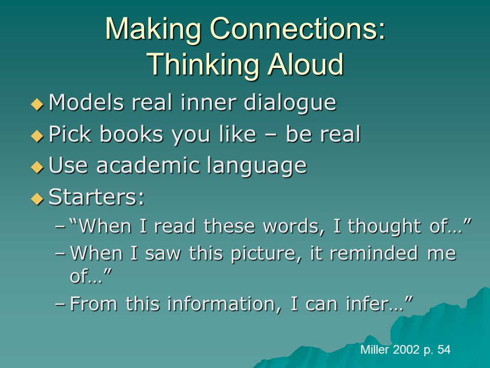 Making Connections: Thinking Aloud