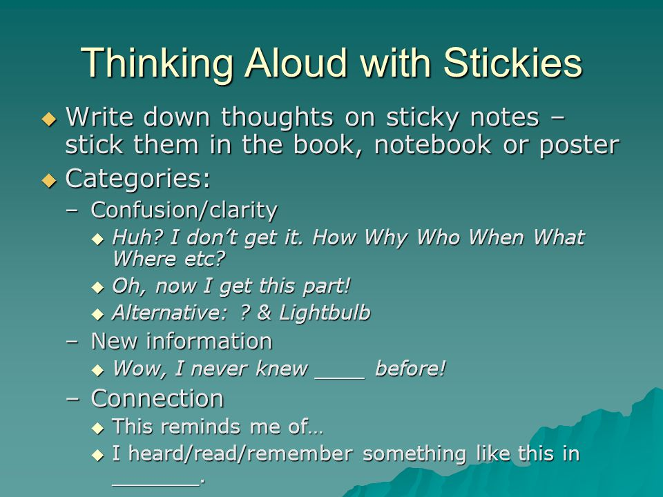 Thinking Aloud with Stickies