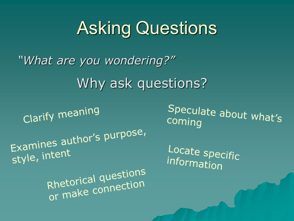 Asking Questions What are you wondering Clarify meaning