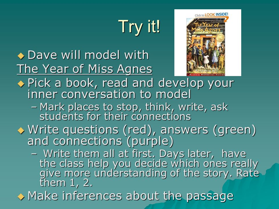 Try it! Dave will model with The Year of Miss Agnes