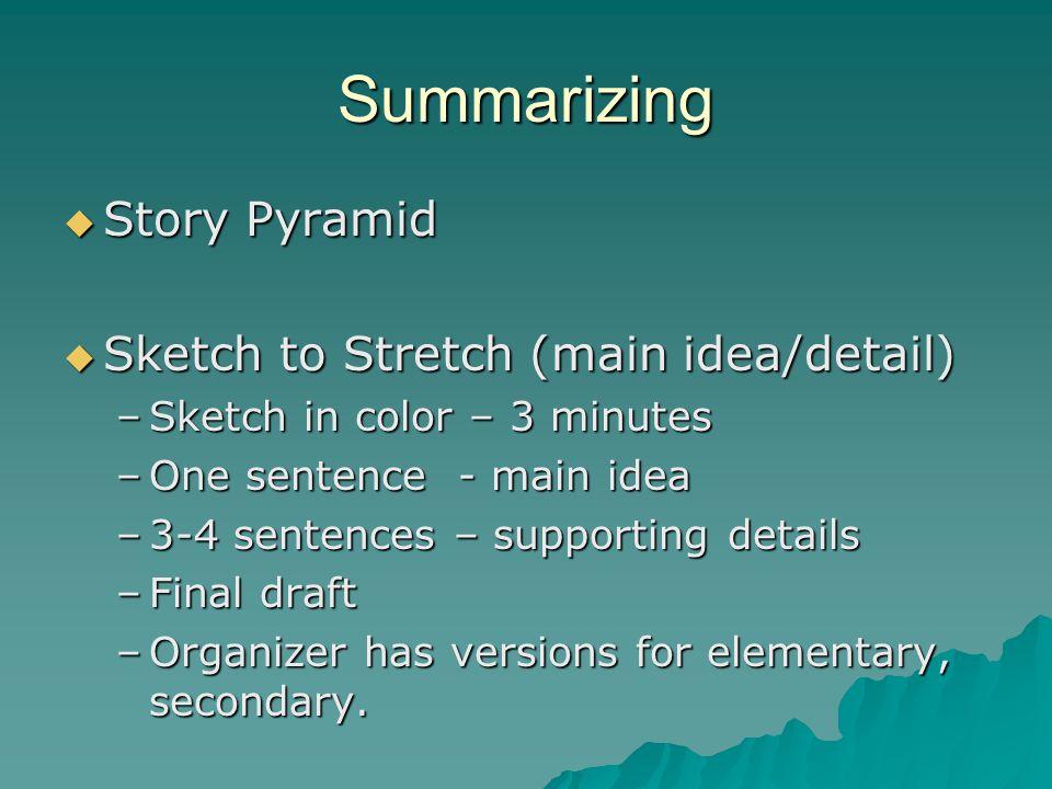 Summarizing Story Pyramid Sketch to Stretch (main idea/detail)