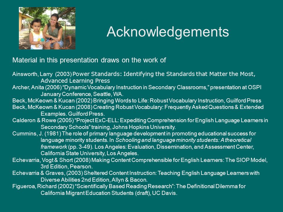 Acknowledgements Material in this presentation draws on the work of