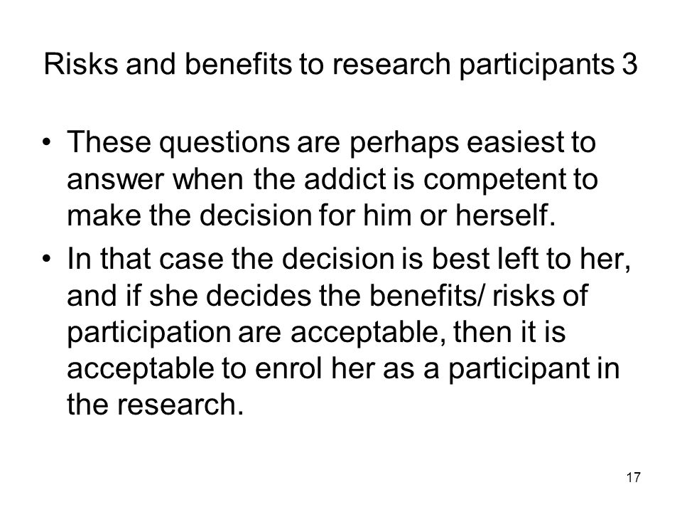 Risks and benefits to research participants 3
