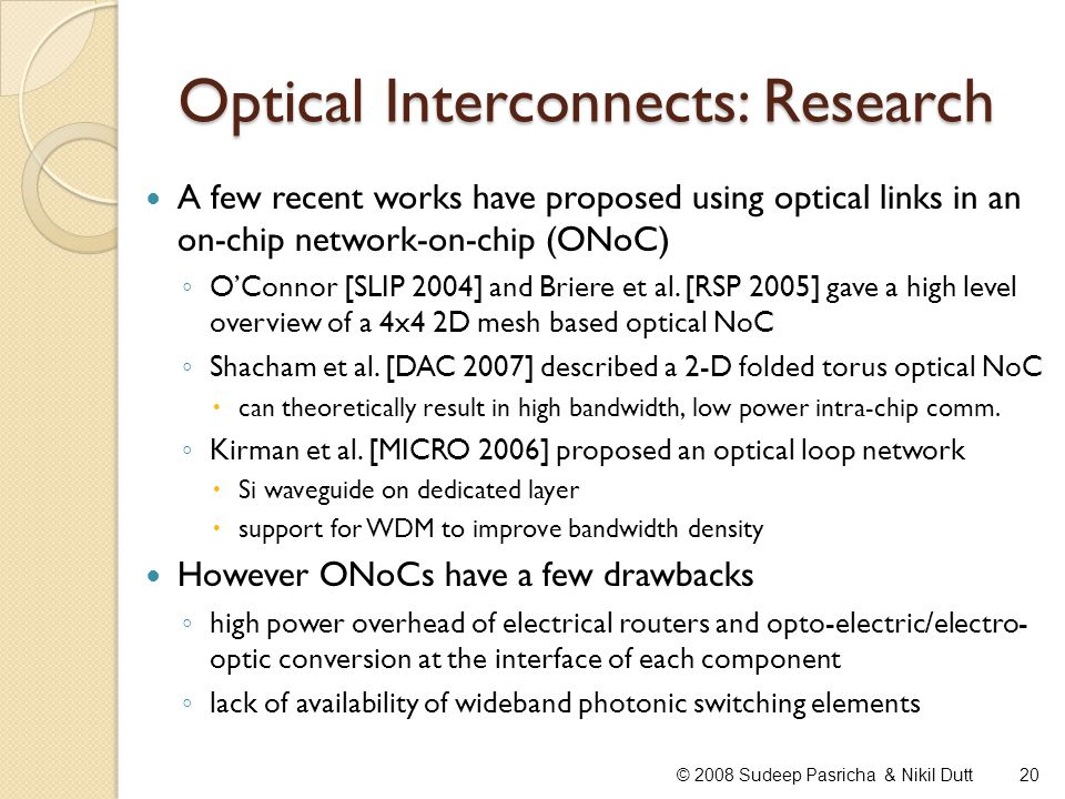 Optical Interconnects: Research
