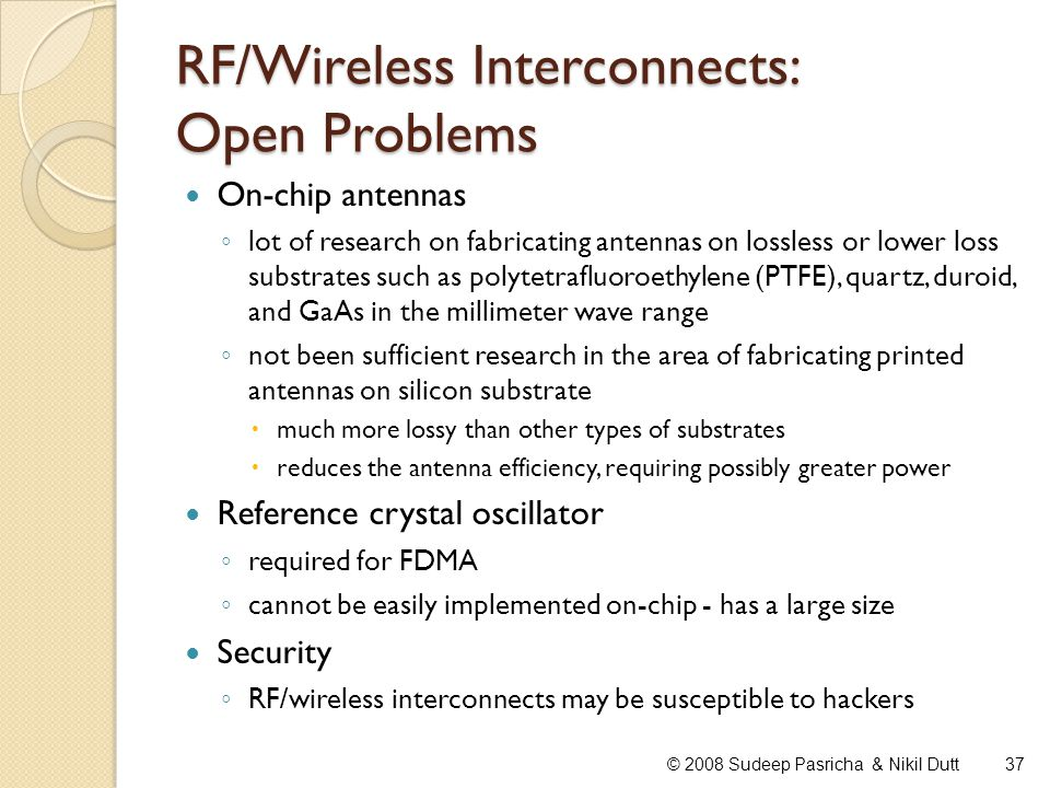 RF/Wireless Interconnects: Open Problems