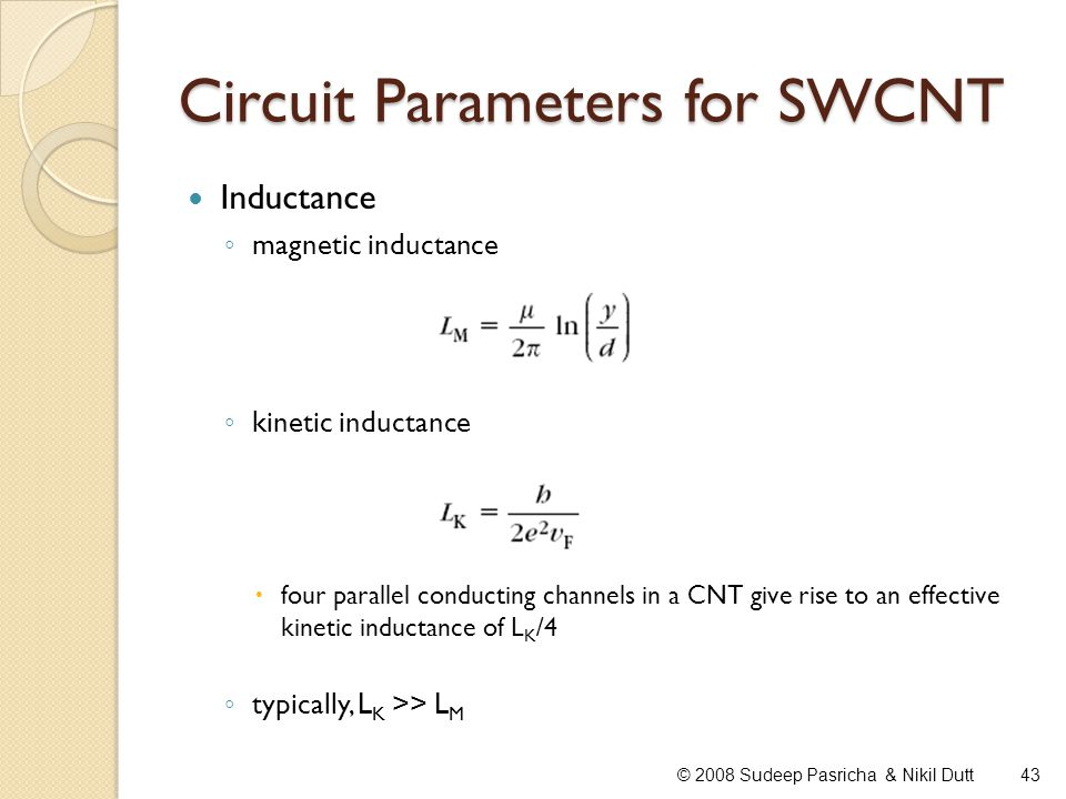 Circuit Parameters for SWCNT