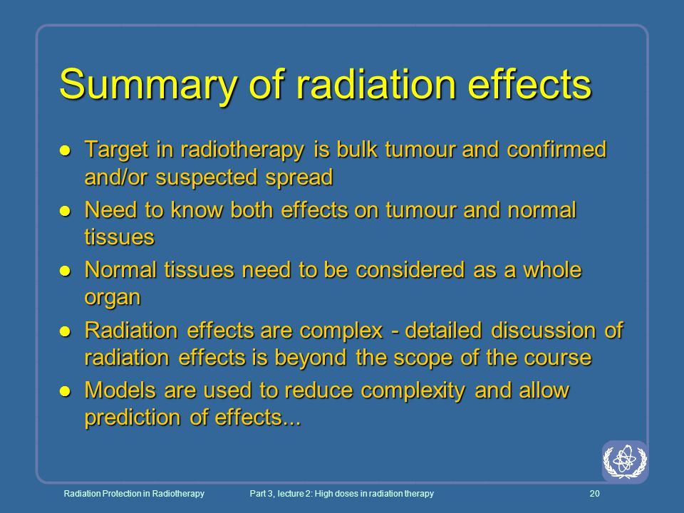 Summary of radiation effects