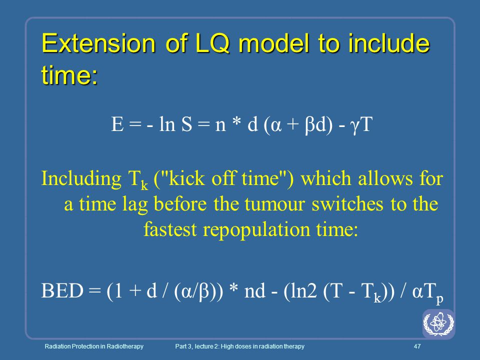 Extension of LQ model to include time: