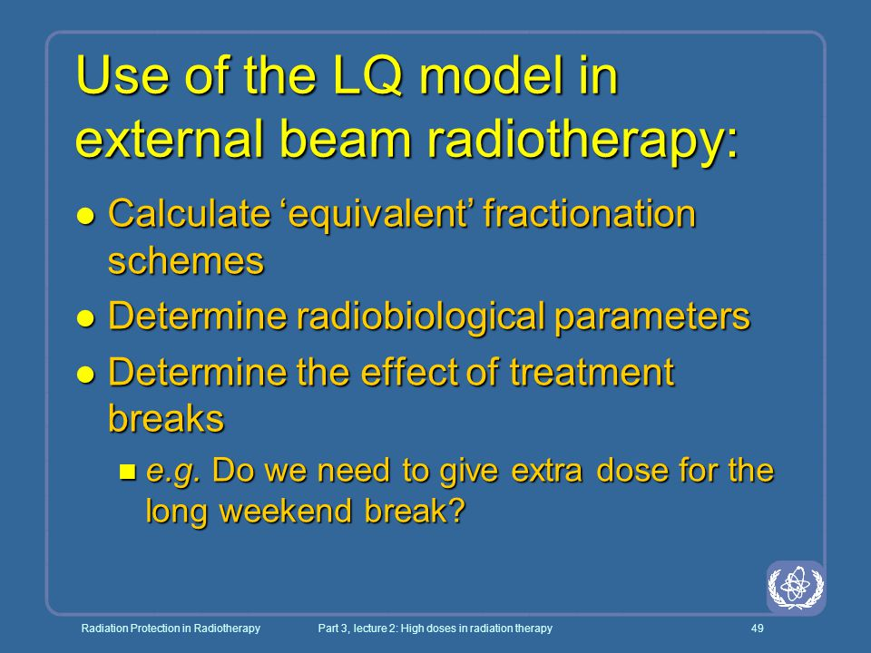 Use of the LQ model in external beam radiotherapy: