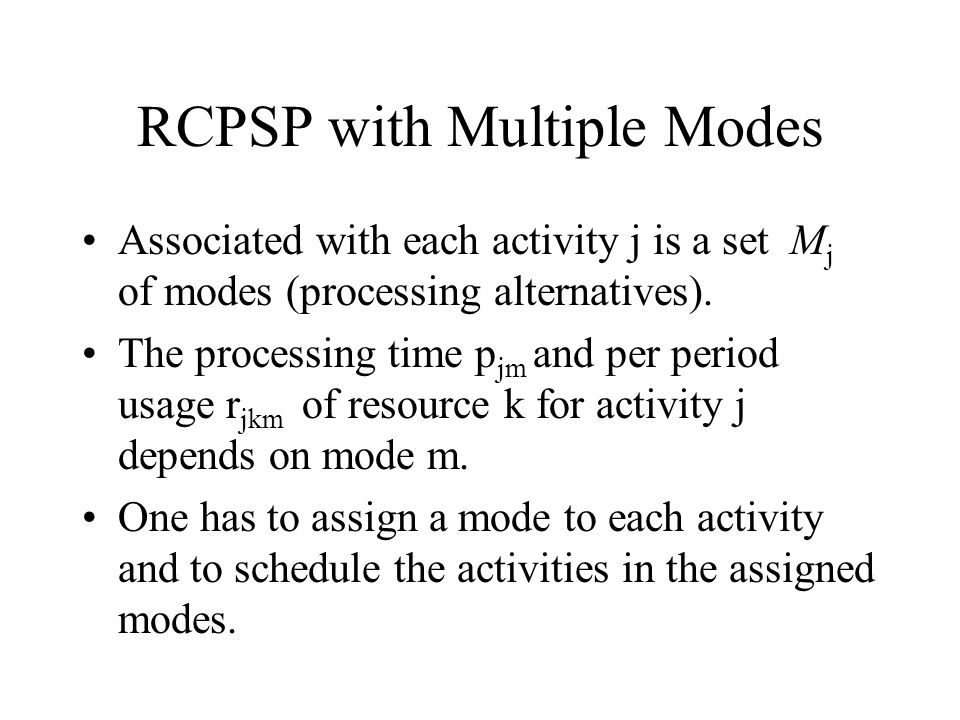 RCPSP with Multiple Modes
