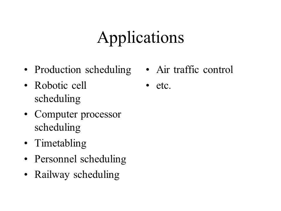 Applications Production scheduling Robotic cell scheduling