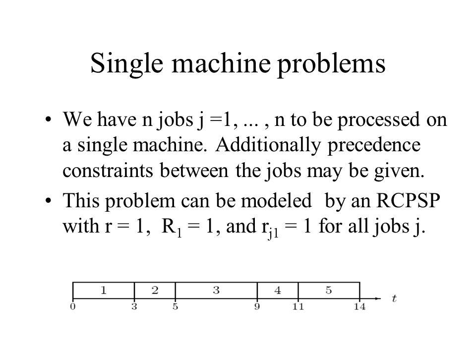 Single machine problems