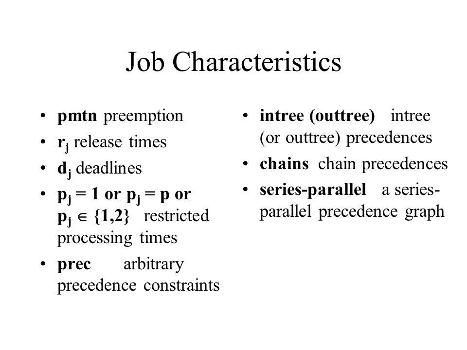Job Characteristics pmtn preemption rj release times dj deadlines