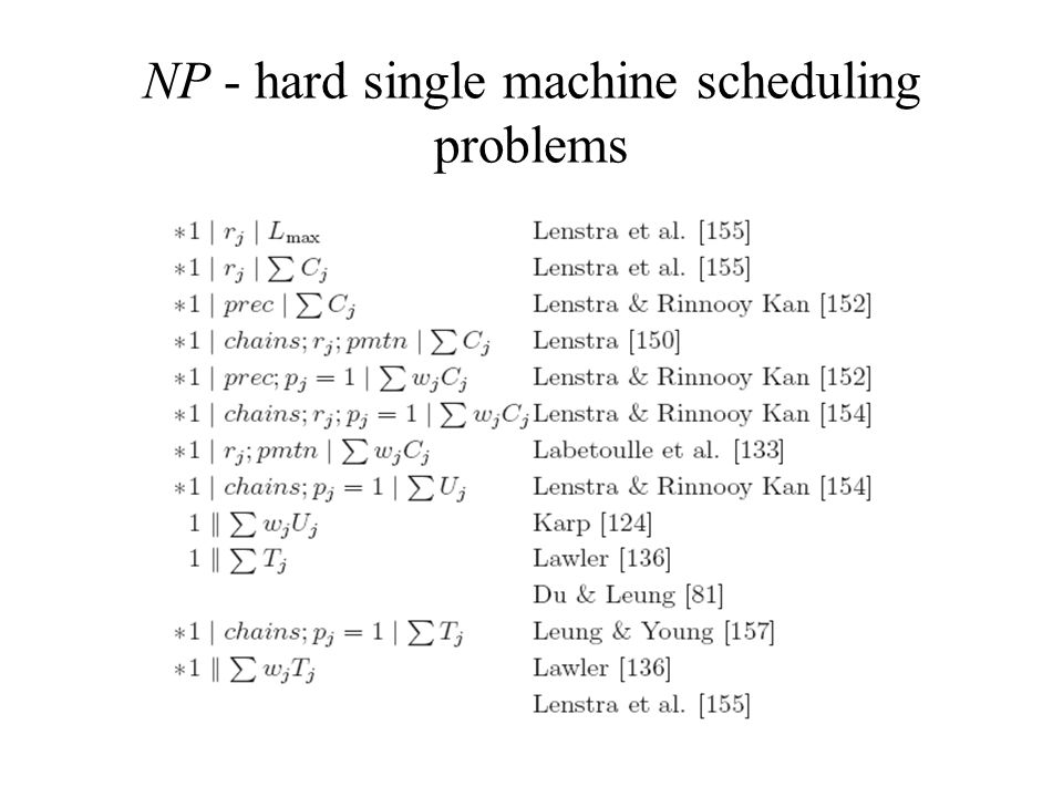 NP - hard single machine scheduling problems