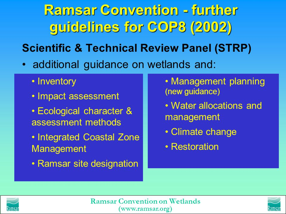 Ramsar Convention - further guidelines for COP8 (2002)