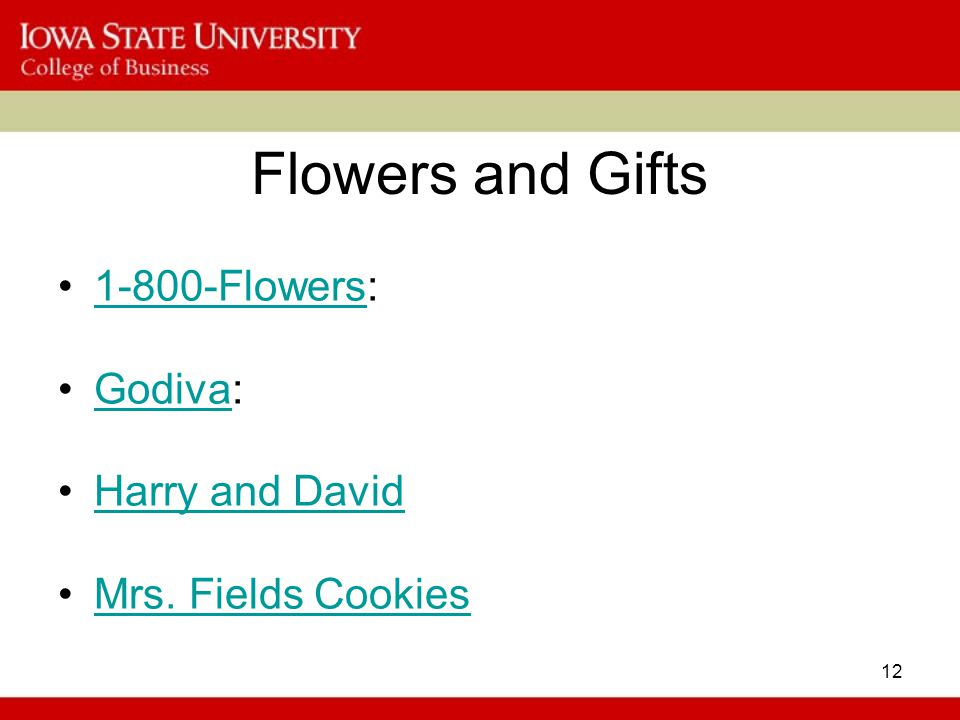 Flowers and Gifts 1-800-Flowers: Godiva: Harry and David