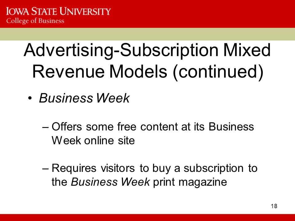 advertising suscription mixed revenue model One of the best aspects of using a subscription pricing models  the user  accesses the content for free while revenue comes from advertisers who want   hybrid approaches that mix these models together or add them on to.