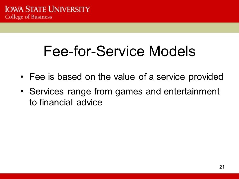 Fee-for-Service Models
