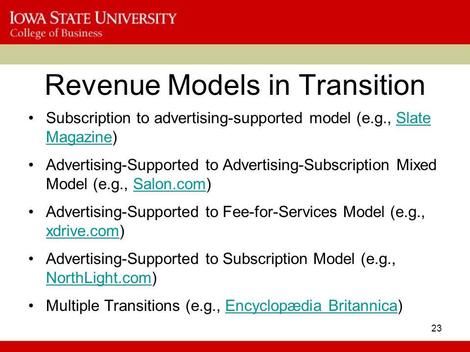 Revenue Models in Transition