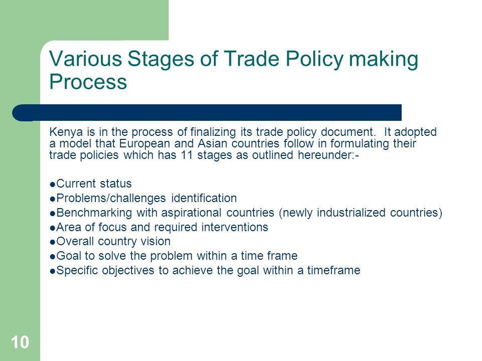 Various Stages of Trade Policy making Process