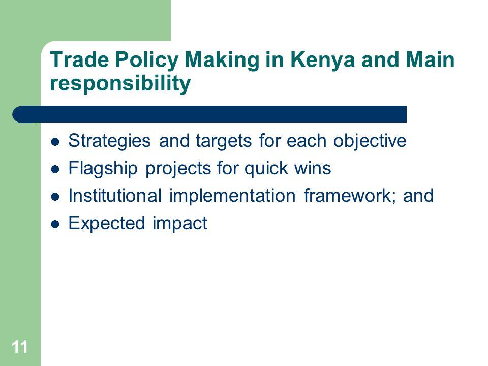 Trade Policy Making in Kenya and Main responsibility
