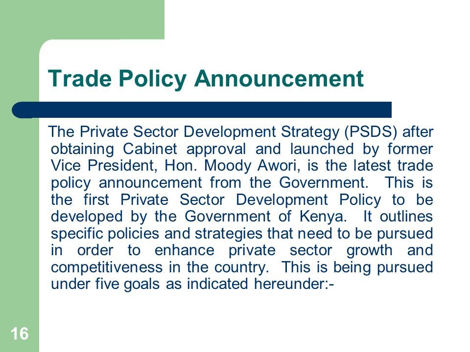 Trade Policy Announcement