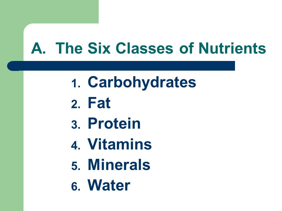 A. The Six Classes of Nutrients