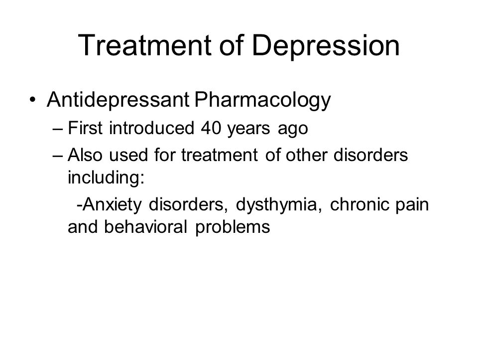 Treatment of Depression