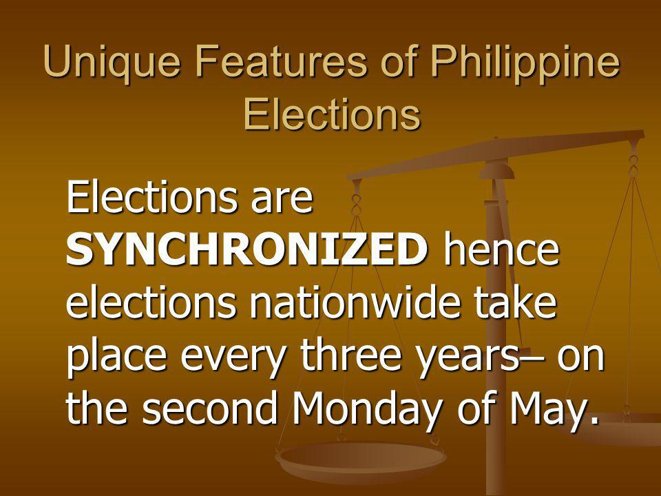 Unique Features of Philippine Elections