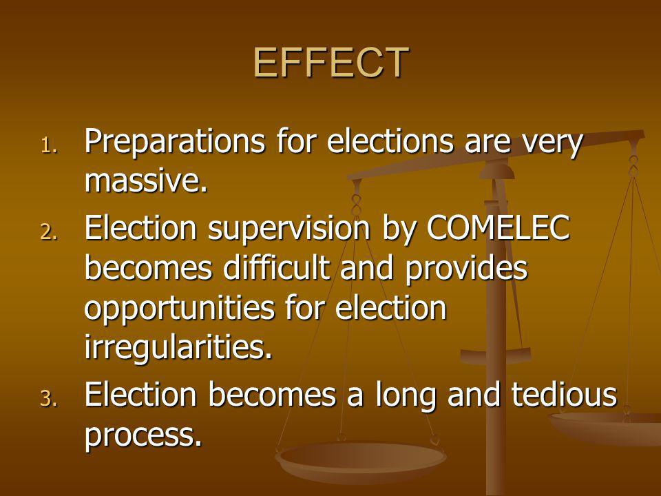 EFFECT Preparations for elections are very massive.