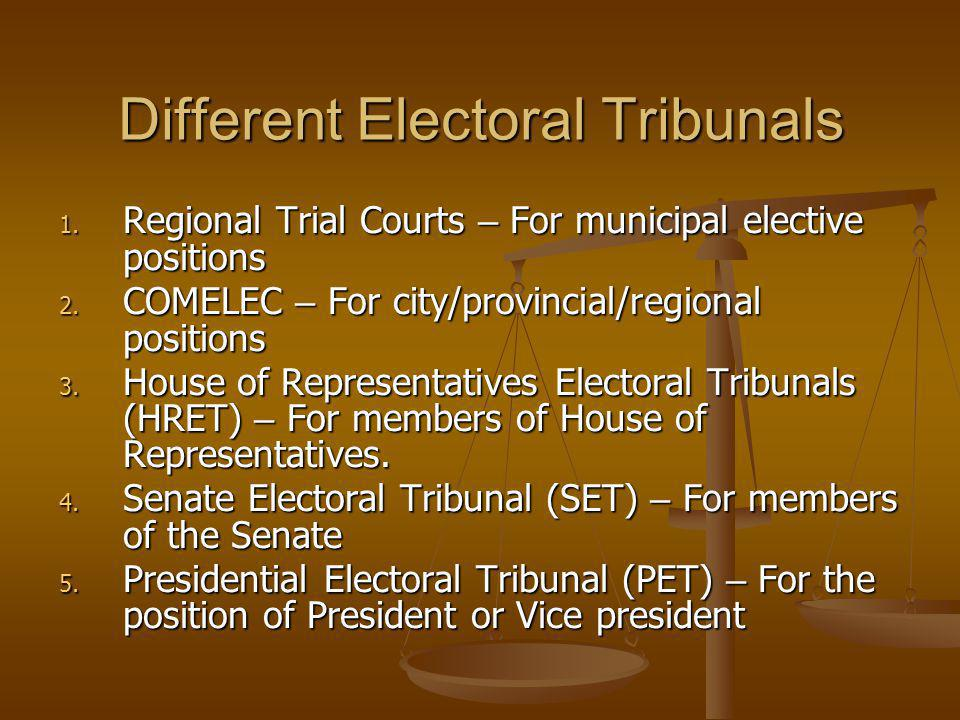 Different Electoral Tribunals
