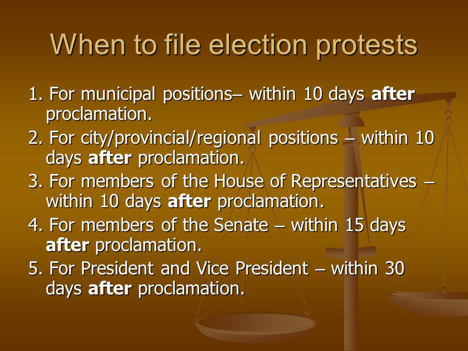 When to file election protests