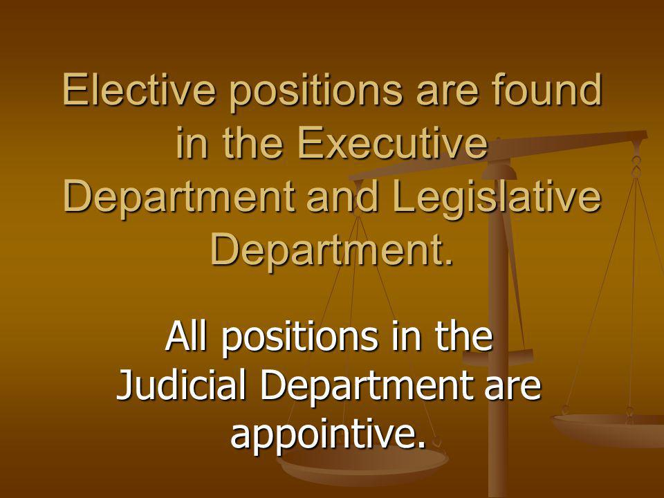 All positions in the Judicial Department are appointive.
