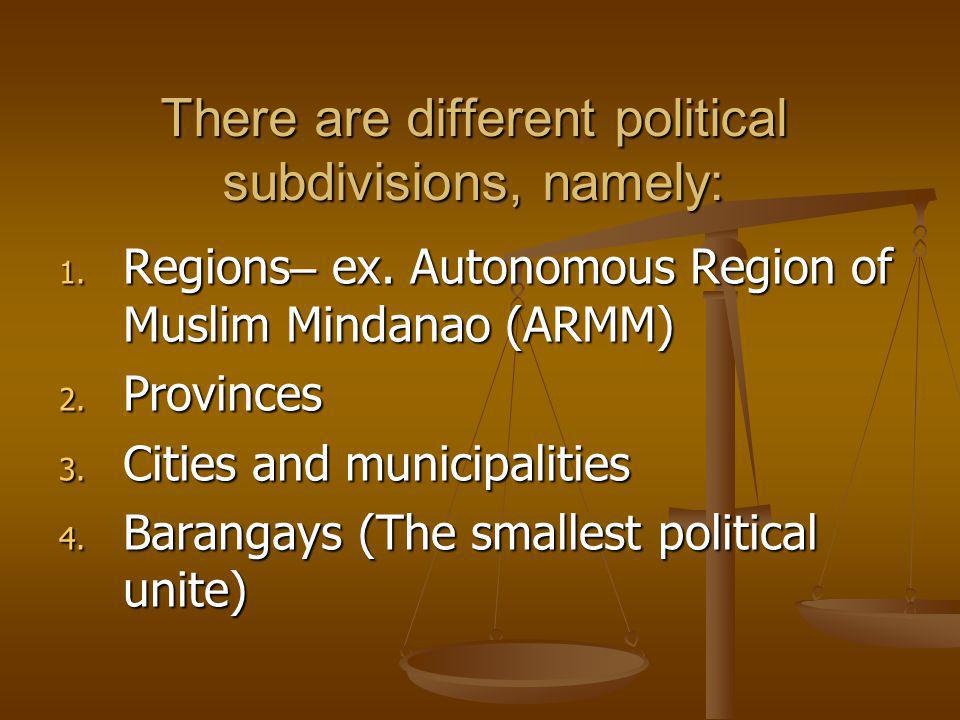 There are different political subdivisions, namely: