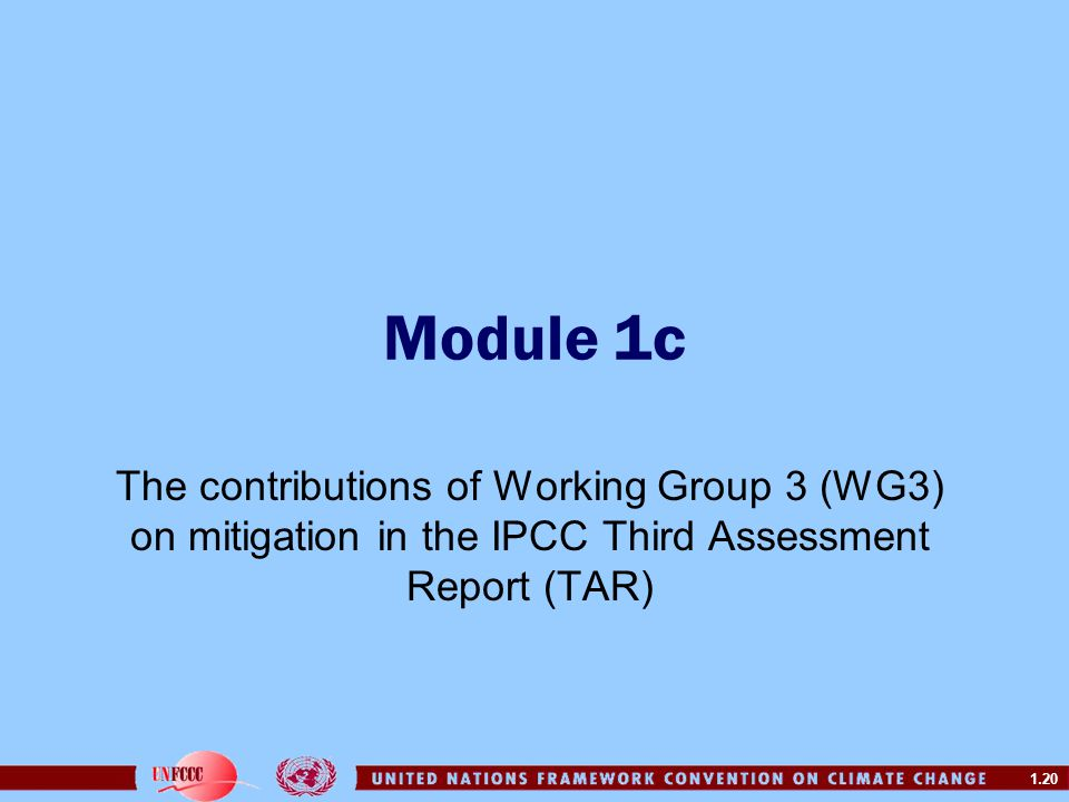 Module 1c The contributions of Working Group 3 (WG3) on mitigation in the IPCC Third Assessment Report (TAR)