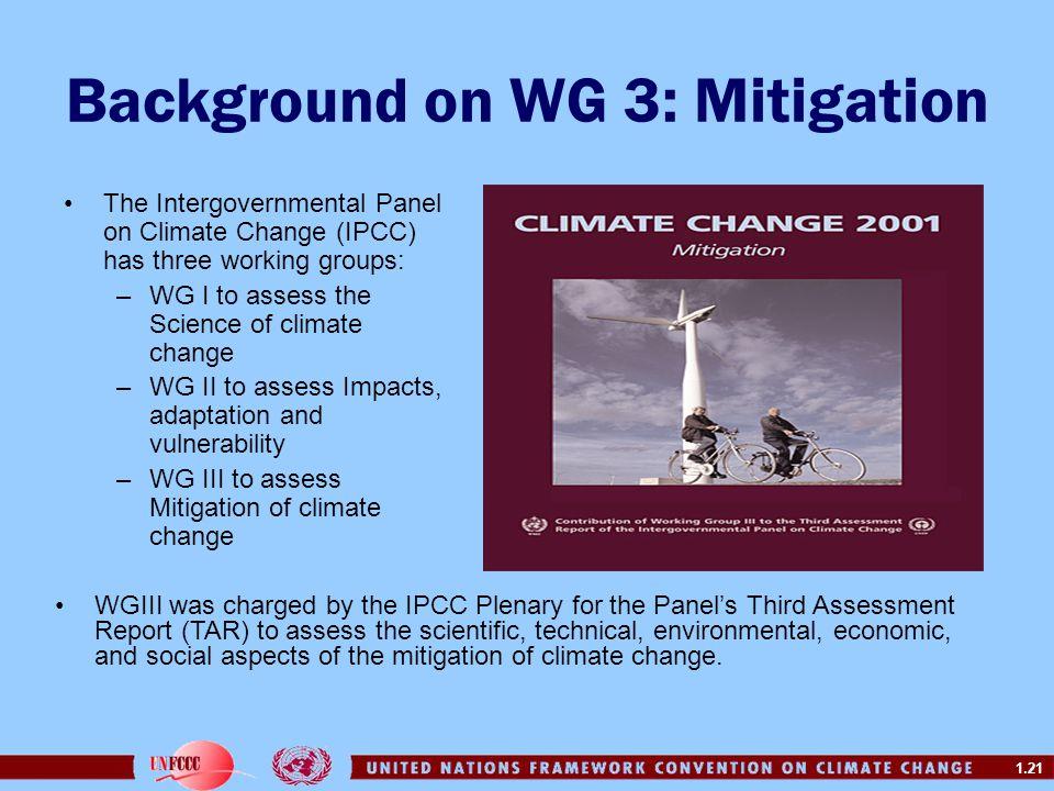 Background on WG 3: Mitigation