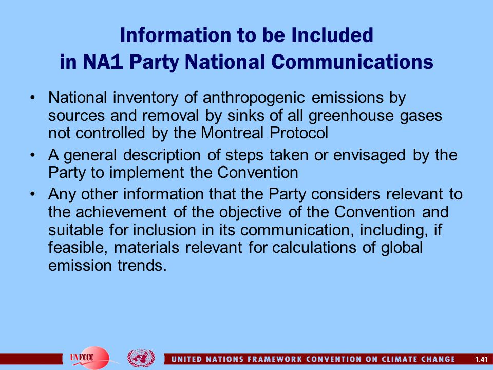 Information to be Included in NA1 Party National Communications
