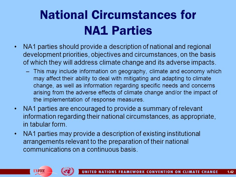 National Circumstances for NA1 Parties