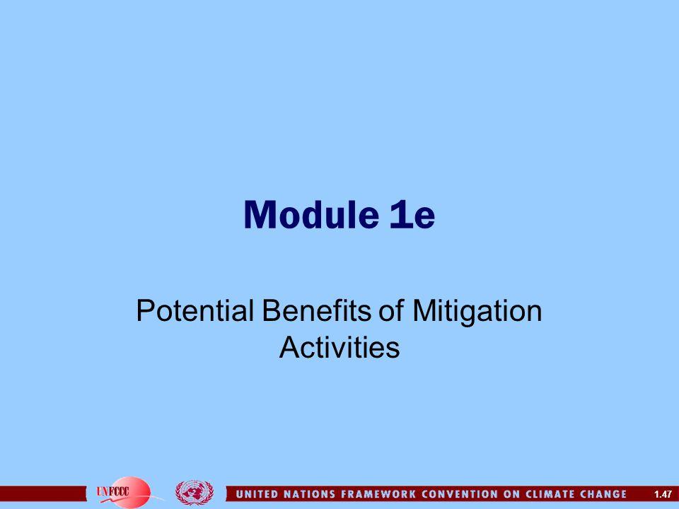 Potential Benefits of Mitigation Activities