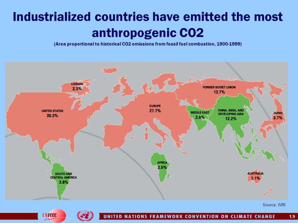Industrialized countries have emitted the most anthropogenic CO2 (Area proportional to historical CO2 emissions from fossil fuel combustion, 1900-1999)